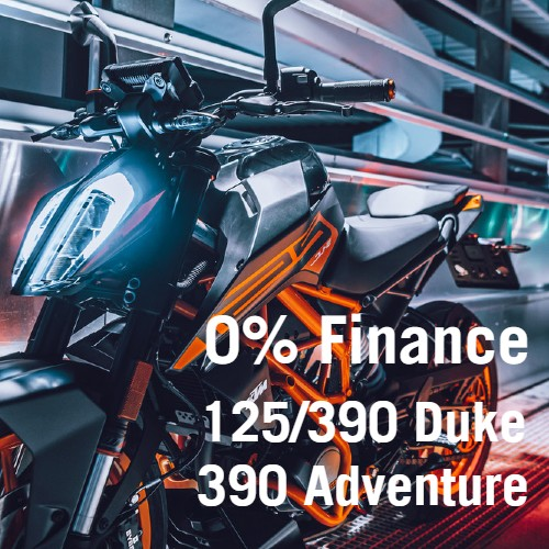 0% finance on 125 and 390 KTM